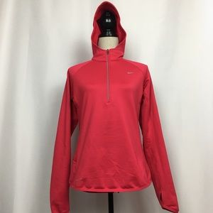 Nike DriFit Red 1/4 Zip Hooded Long Sleeve, Sz M